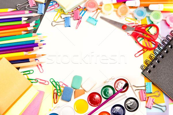 Iskola iroda mozdulatlan vissza az iskolába izolált fehér Stock fotó © Len44ik