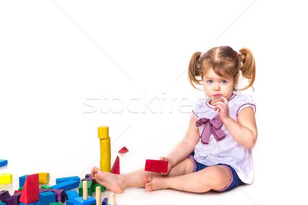 Stockfoto: Cute · spelen · bouwstenen · geïsoleerd · witte