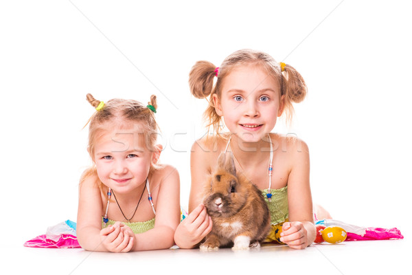 Two happy kids with easter bunny and eggs. Happy Easter Stock photo © Len44ik