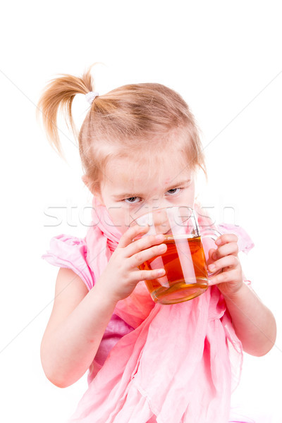Sick little girl with chickenpox drinking tea with lemon Stock photo © Len44ik