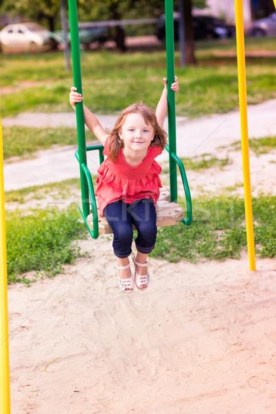 Schönen kleines Mädchen Freien Spielplatz Sommerzeit Schule Stock foto © Len44ik