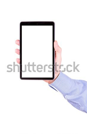 Stock photo: Male hand holding a tablet PC with space for you text