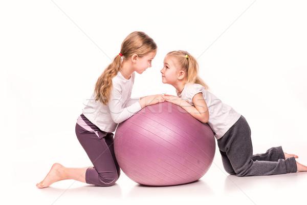 Meisjes geschikt bal geïsoleerd witte cute Stockfoto © Len44ik