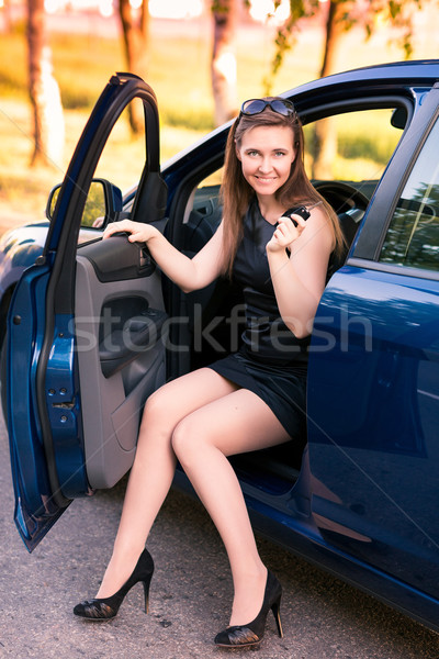 Gyönyörű üzletasszony ül autó nő mosoly Stock fotó © Len44ik