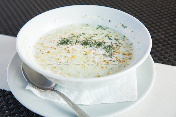 Bulgarian cold soup, Tarator on the table Stock photo © Len44ik