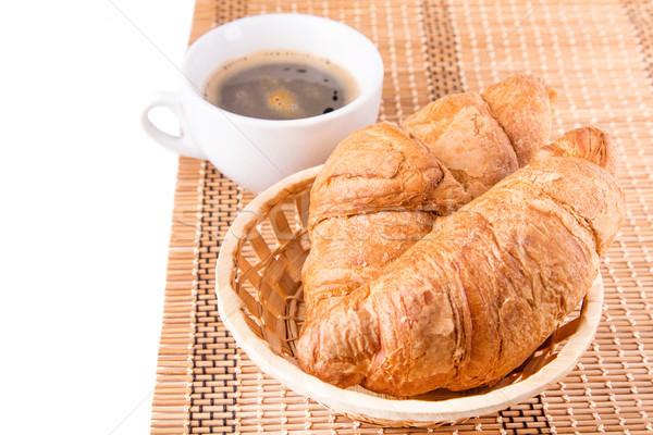 Stockfoto: Vers · smakelijk · frans · croissants · mand · beker
