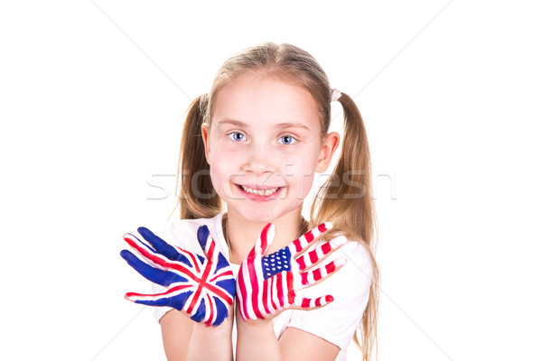 American and English flags on child's hands.  Stock photo © Len44ik