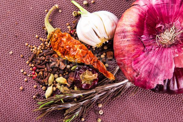Különböző fűszer gyógynövények hagyma barna asztalterítő Stock fotó © Len44ik