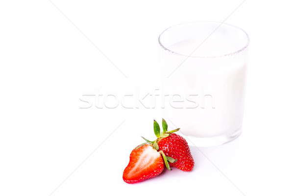 Fresh yougurt in a glass with strawberry isolated on white Stock photo © Len44ik