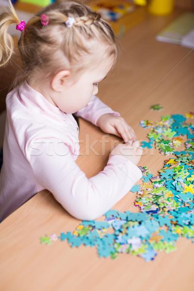Cute kleines Mädchen spielen Baby glücklich Haar Stock foto © Len44ik