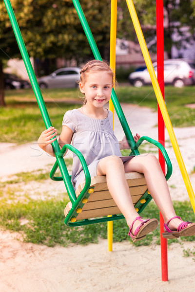 Stock fotó: Gyönyörű · kislány · szabadtér · játszótér · nyáridő · iskola