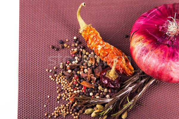 Temperos ervas cebola marrom toalha de mesa Foto stock © Len44ik