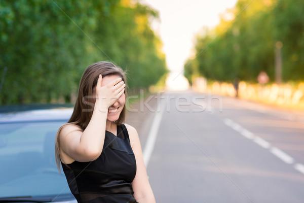 Güzel işkadını araba kadın gülümseme güzellik Stok fotoğraf © Len44ik