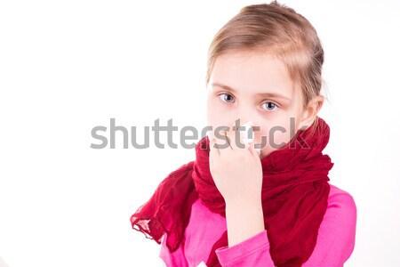 Beteg kislány szalvéta izolált fehér lány Stock fotó © Len44ik