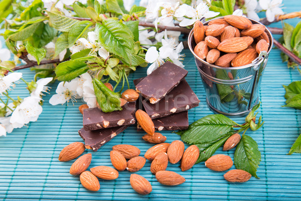 Stock photo: Almonds in a backet with pieces of chocolate with nuts