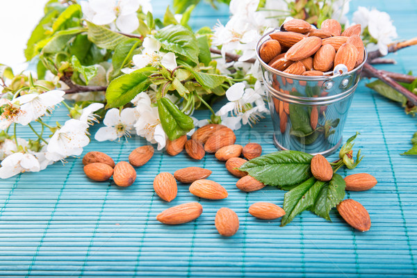 Stock photo: Almonds in a backet