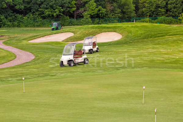 Perfeito ondulado terreno grama verde golfe campo Foto stock © Len44ik