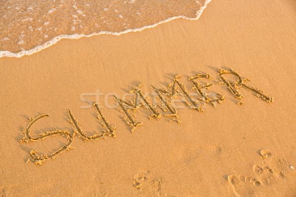 Szó nyár citromsárga homokos tengerpart szöveg kék Stock fotó © Len44ik
