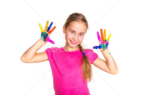 Glücklich kleines Mädchen Hände malen isoliert weiß Stock foto © Len44ik