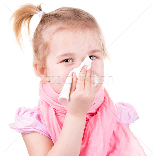 Sick little girl with chickenpox with napkin Stock photo © Len44ik