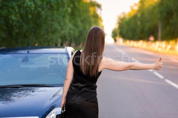 Bella imprenditrice auto stop un altro strada Foto d'archivio © Len44ik