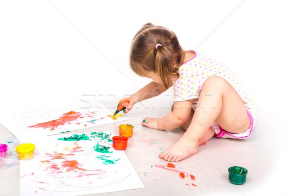 Szczęśliwy ręce farby rysunek odizolowany Zdjęcia stock © Len44ik