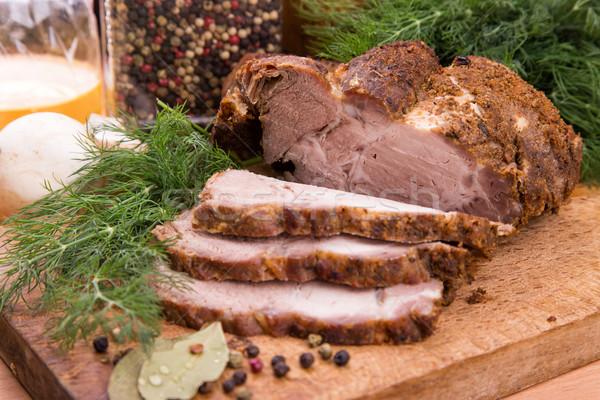 A la parrilla cerdo filete carne alimentos Foto stock © Len44ik