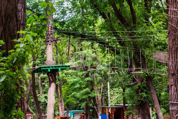 Avontuur klimmen hoog draad park touw Stockfoto © Len44ik