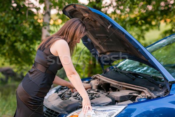 Bella donna d'affari auto rotta auto sorriso felice Foto d'archivio © Len44ik