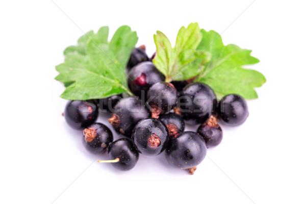 Stock photo: Fresh ripe blackcurrants isolated
