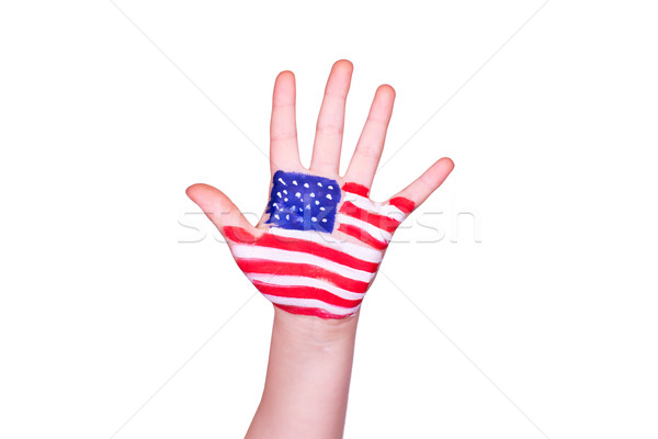 American flag on a hand. Travelling to America concept. English language learning Stock photo © Len44ik