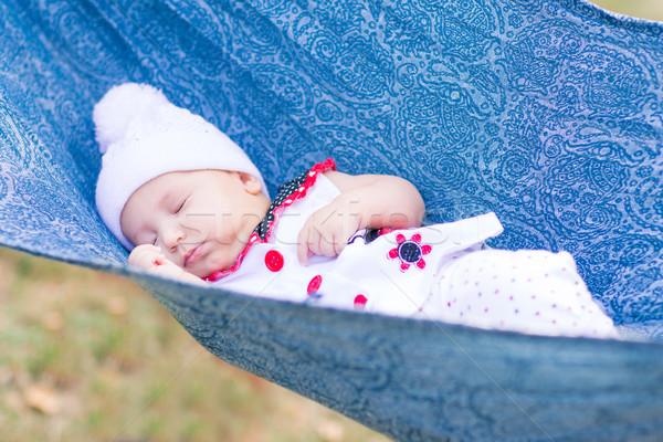 Cute wenig Baby schlafen Park Freien Stock foto © Len44ik