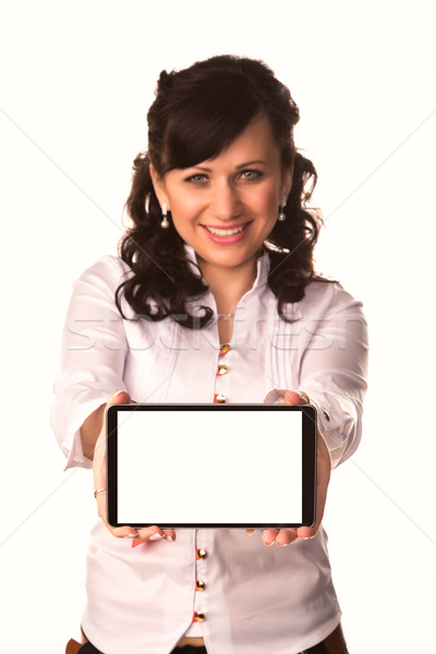 Young attractive business woman holding tablet PC with touch pad Stock photo © Len44ik