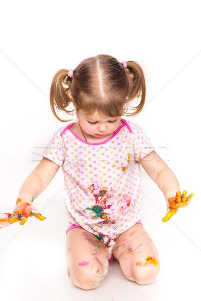 Feliz menina mãos pintar isolado branco Foto stock © Len44ik