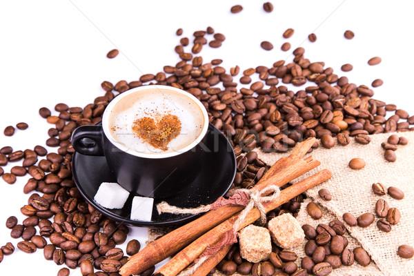 Csésze kávé szív kávészünet kávé fahéj Stock fotó © Len44ik