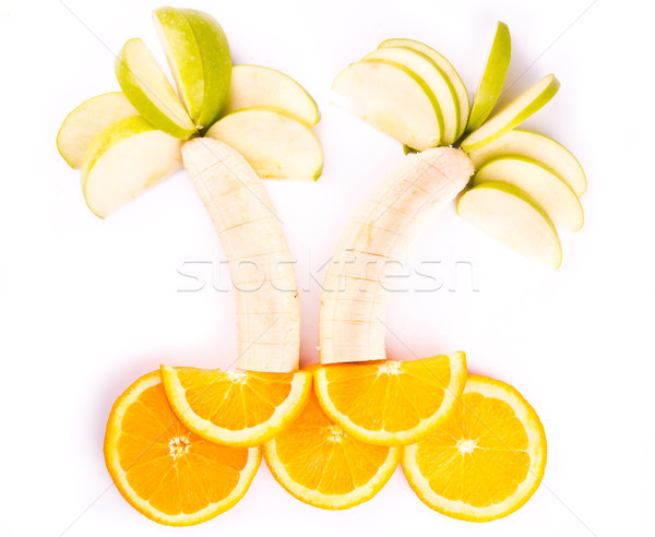 Fruit trees made of bananas, apples and oranges Stock photo © Len44ik
