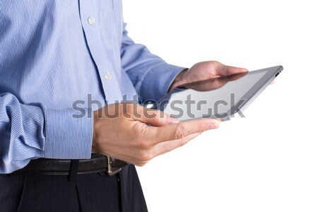 Young businessman's hands with tablet pc Stock photo © Len44ik