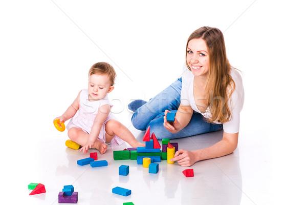 Belo bebê mãe edifício castelo Foto stock © Len44ik