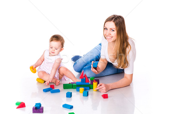 Foto stock: Belo · bebê · mãe · edifício · castelo