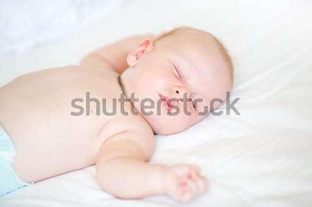 Paisible bébé lit dormir blanche Photo stock © Len44ik