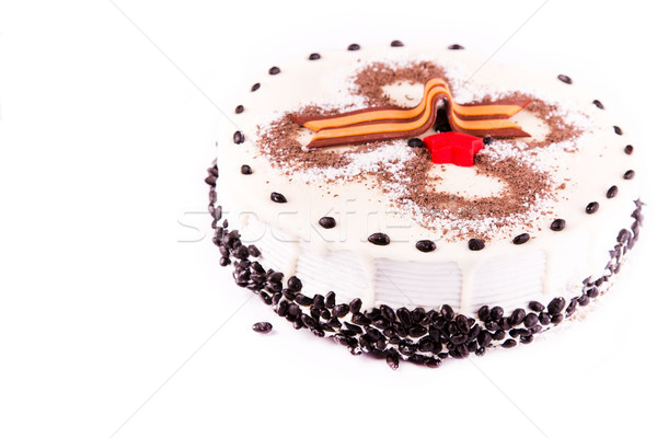 Tasty coffee chocolate cake with George ribbon as Second World War Victory sign Stock photo © Len44ik