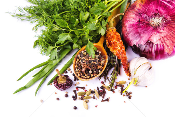 Various spices and herbs, onion and garlik  Stock photo © Len44ik