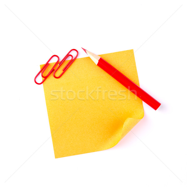 Orange sticky paper note with red clips and pencil Stock photo © Len44ik
