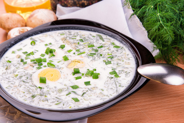 Cold yogurt soup with dill and yolk Stock photo © Len44ik