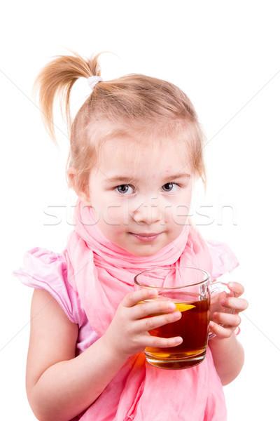 Sick little girl with chickenpox drinking tea with lemon Stock photo © Len44ik