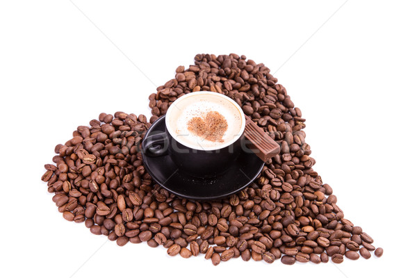 Cup of coffee with a heart with piece of chocolate. Coffee break concept. Stock photo © Len44ik