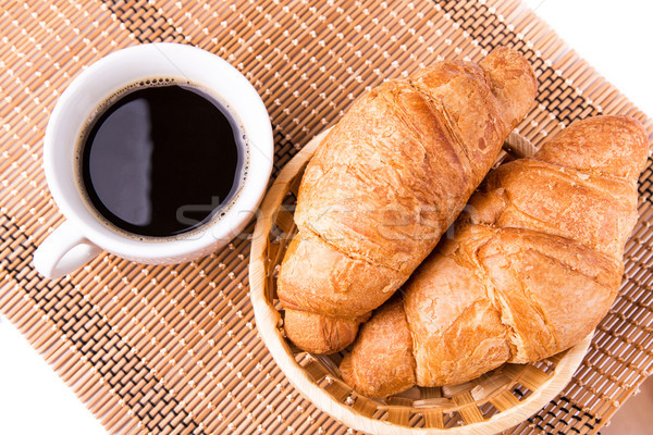 Friss ízletes francia croissantok kosár csésze Stock fotó © Len44ik