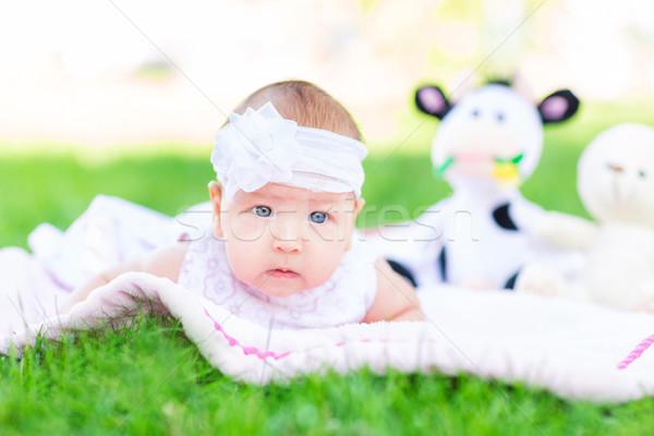 Cute weinig baby park outdoor gras Stockfoto © Len44ik