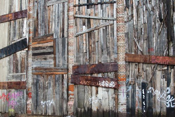 Oude houten muur boom bouw muur Stockfoto © Len44ik