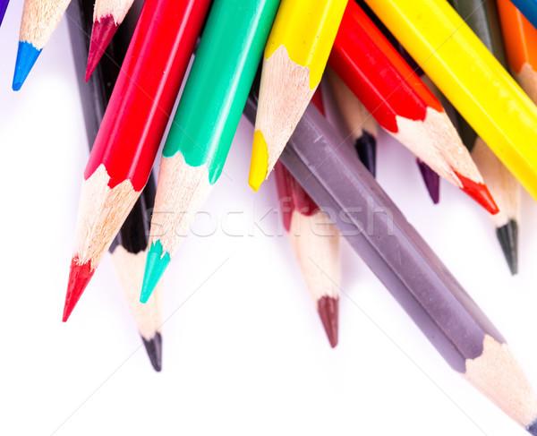 Szín ceruzák izolált fehér vissza az iskolába fa Stock fotó © Len44ik